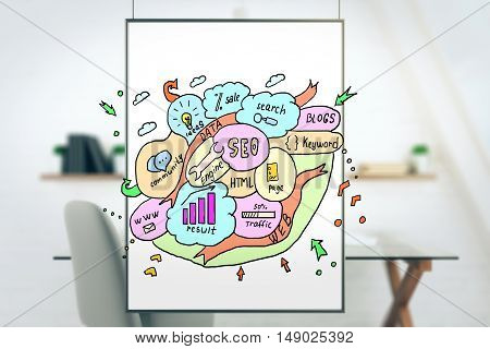 White banner with creative colorful SEO sketch on blurry office interior background. Search engine optimization concept. 3D Rendering