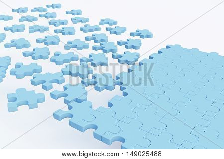 Blue puzzle piece road on white background. Success concept. 3D Rendering