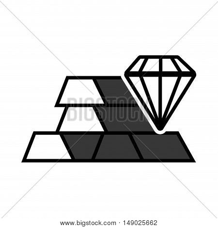gold bars block with diamond jewelry icon silhouette. vector illustration