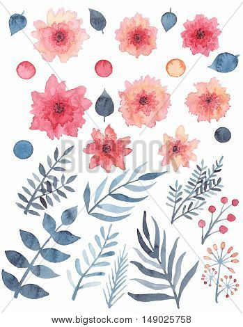 Set Of Watercolor Red Delicate Flowers Berries And Blue Leaves
