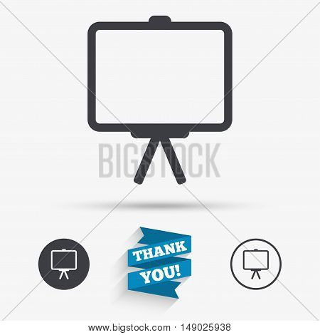 Presentation billboard sign icon. Clean board symbol. Flat icons. Buttons with icons. Thank you ribbon. Vector