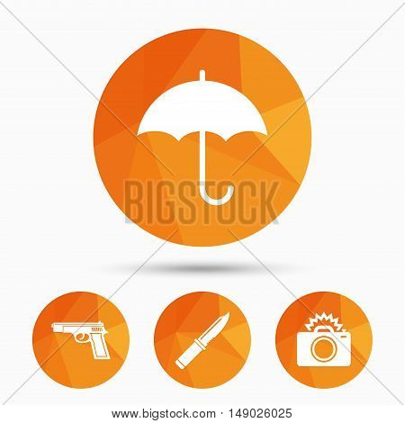 Gun weapon icon.Knife, umbrella and photo camera with flash signs. Edged hunting equipment. Prohibition objects. Triangular low poly buttons with shadow. Vector