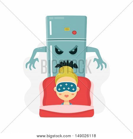 Young women nightmare. scary refrigerator and sleeping girl. vector flat cartoon character illustration. isolated on white background. diet idea concept. Night hunger fridge monster