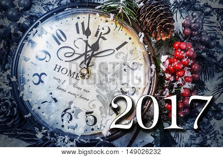 Two Thousand And Seventeen New Year Still Life. Old Clock On Snow.