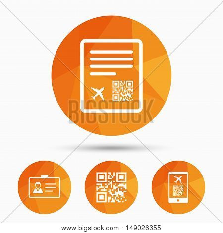 QR scan code in smartphone icon. Boarding pass flight sign. Identity ID card badge symbol. Triangular low poly buttons with shadow. Vector