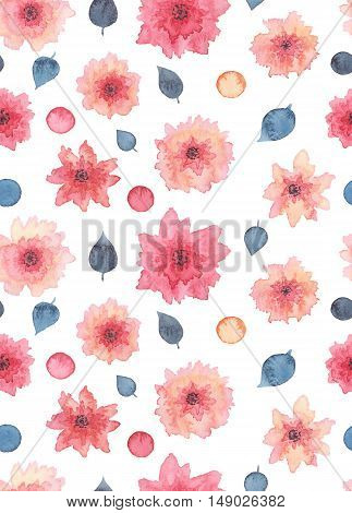 Watercolor Delicate Pink Flowers Spots And Deep Blue Leaves Seamless Texture
