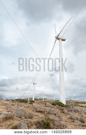 Several windmills on wind farm with blue sky background