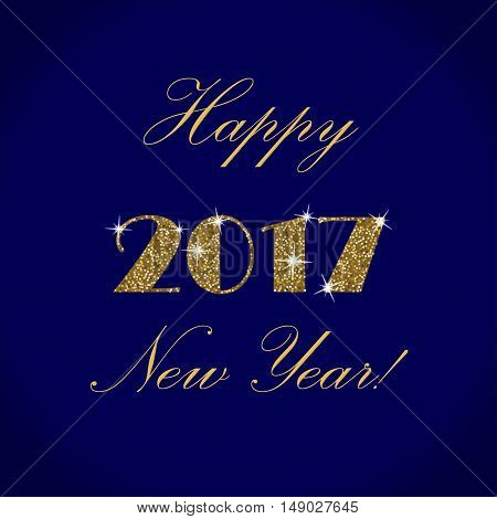 Happy New Year Gold Vector Design on a Blue Background. Golden Glitter New Year Poster. Background for Flyer, Poster,  Banner, Web, Header.