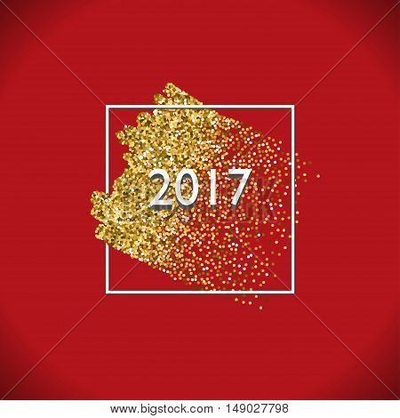 Happy New Year Gold Vector Design with Glitter Stroke Brush on a Red Background. Golden Glitter New Year Poster. Background for Flyer,  Banner, Web, Header.