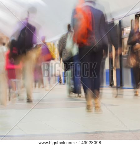 Abstract blurred subway for background, Groups of people in a hurry about their business, square