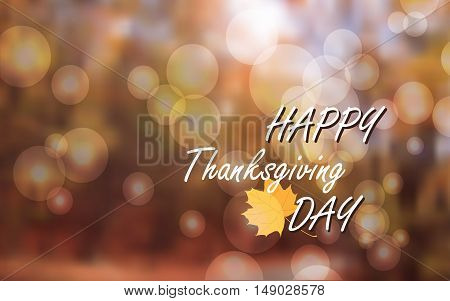 Vector Illustration of Happy Thanksgiving Day, Autumn Blur Bokeh Background Happy Thanksgiving Day banner, flyer template. Thanksgiving Day card template