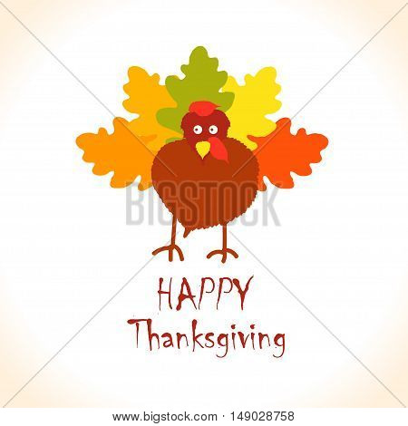 Vector Colorful Turkey Bird for Happy Thanksgiving Day Celebration, Children's Creativity Illustration with Autumn Leaves. can be use as flyer, poster or banner.