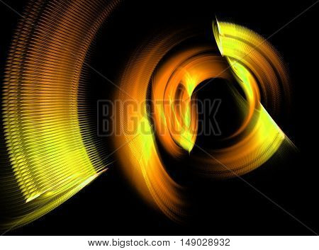 Abstract yellow swirling fractal on black background