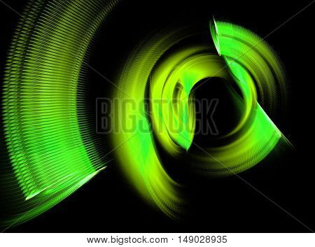 Abstract green swirling fractal on black background