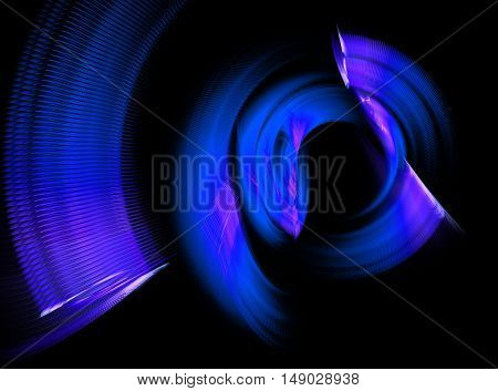 Abstract blue swirling fractal on black background
