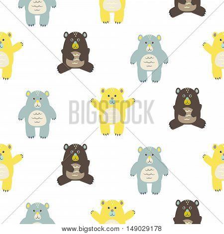Cartoon fun baby bears seamless pattern. Baby yellow, brown and blue bears background.