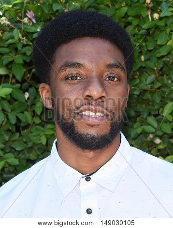 LOS ANGELES - SEP 25:  Chadwick Boseman arrives to The Rape Foundation Annual Brunch on September 25, 2016 in Beverly Hills, CA