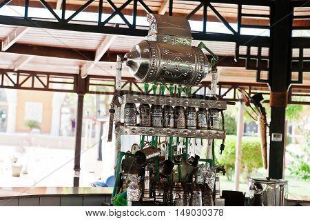 Traditional Arabic Shisha Pipes Hookah At Cafe