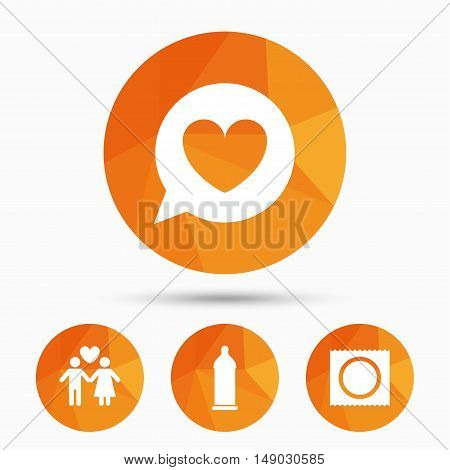 Condom safe sex icons. Lovers couple signs. Male love female. Speech bubble with heart. Triangular low poly buttons with shadow. Vector