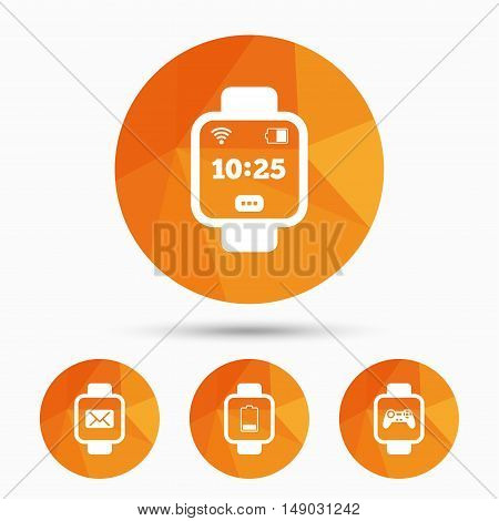 Smart watch icons. Wrist digital time watch symbols. Mail, Game joystick and wi-fi signs. Triangular low poly buttons with shadow. Vector