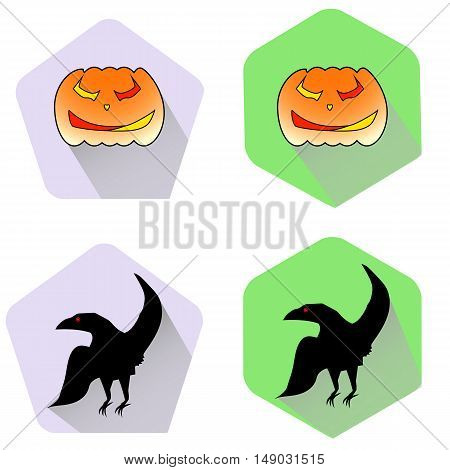 Pumpkin and black raven halloween flat icons