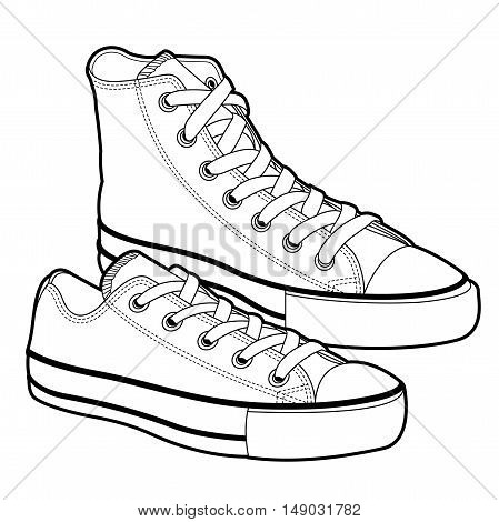 Illustration of sneaker canvas shoes isolated on white