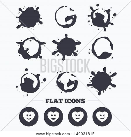 Paint, coffee or milk splash blots. Heart smile face icons. Happy, sad, cry signs. Happy smiley chat symbol. Sadness depression and crying signs. Smudges splashes drops. Vector