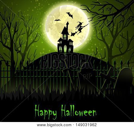 Halloween spooky background with moon fence haunted house witch bats . Vector. Green