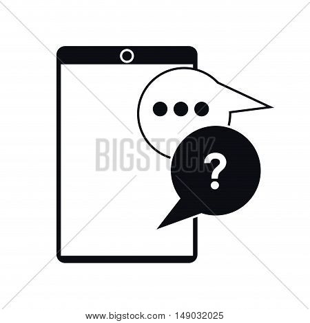 Smartphone with bubble icon. Gadget technology and device theme. Isolated design. Vector illustration