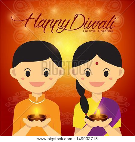 Illustration for Diwali festival with Cute Indian boy and girl