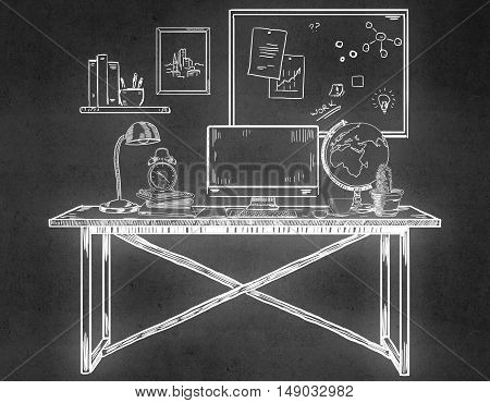 Creative drawn office workplace on concrete background