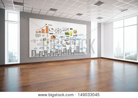 Modern interior with creative business sketch on billboard wooden floor patterned ceiling window with city view and daylight. Success concept 3D Rendering