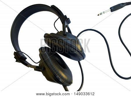 Black headphones isolated on the white background