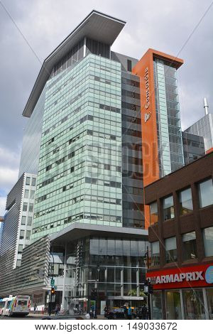 MONTREAL QUEBEC CANADA 09 22 2016: Concordia university John Molson Building. It includes digitally equipped teaching amphitheatres and classrooms, faculty and graduate student offices