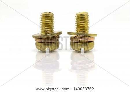 Brass screws for terminal of power supply in electric appliance.-Terminal screw.-isolated on white background