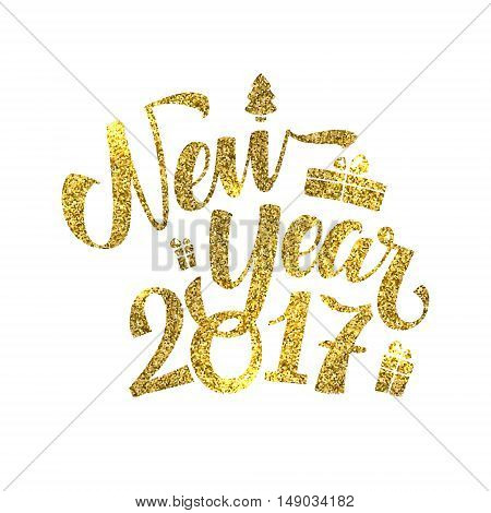 Gold Happy New Year Card. Golden Shiny Glitter. Calligraphy Greeting Poster Tamplate. Isolated White Background. Glowing Illustration