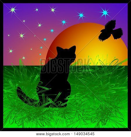 Cat looking at a bird on a background of the moon. Postcard for Halloween or cat of the day.