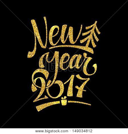 Gold Happy New Year Card. Golden Shiny Glitter. Calligraphy Greeting Poster Tamplate. Black Background