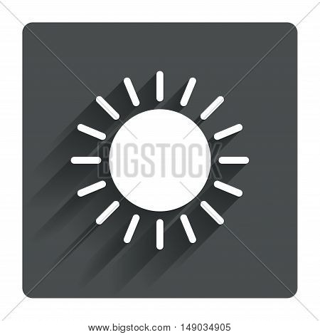 Sun icon. Sunlight summer symbol. Hot weather sign. Gray flat square button with shadow. Modern UI website navigation. Vector