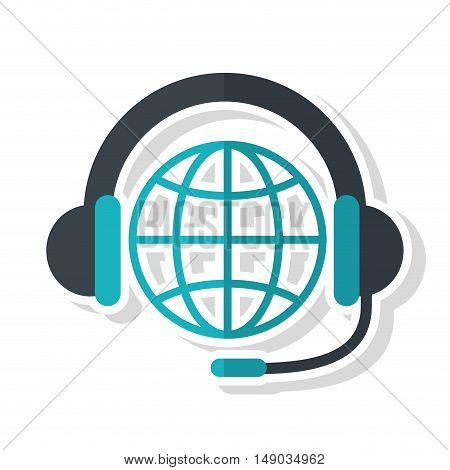 Headphone and global sphere icon. Call center and technical service theme. Isolated design. Vector illustration