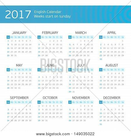 Calendar for 2017 on white background. Week starts from sunday.