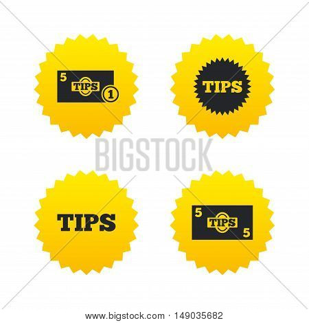 Tips icons. Cash with coin money symbol. Star sign. Yellow stars labels with flat icons. Vector