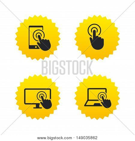 Touch screen smartphone icons. Hand pointer symbols. Notebook or Laptop pc sign. Yellow stars labels with flat icons. Vector