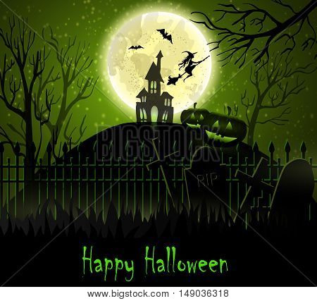 Halloween spooky background with moon fence haunted house witch bats and two pumpkins. Vector. Green