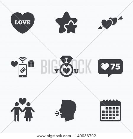 Valentine day love icons. I love you ring symbol. Couple lovers sign. Flat talking head, calendar icons. Stars, like counter icons. Vector