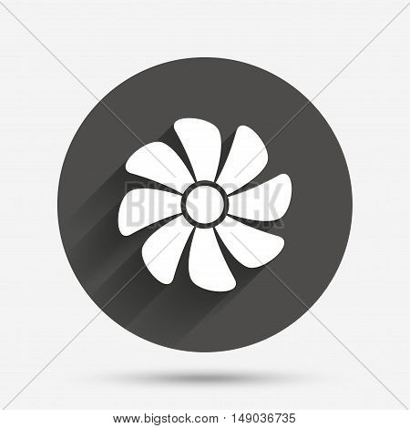 Ventilation sign icon. Ventilator symbol. Circle flat button with shadow. Vector