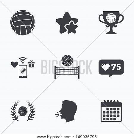 Volleyball and net icons. Winner award cup and laurel wreath symbols. Beach sport symbol. Flat talking head, calendar icons. Stars, like counter icons. Vector