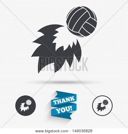 Volleyball fireball sign icon. Beach sport symbol. Flat icons. Buttons with icons. Thank you ribbon. Vector