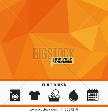 Triangular low poly orange background. Wash machine icon. Hand wash. T-shirt clothes symbol. Laundry washhouse and water drop signs. Not machine washable. Calendar flat icon. Vector