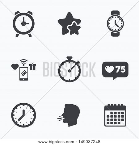 Mechanical clock time icons. Stopwatch timer symbol. Wake up alarm sign. Flat talking head, calendar icons. Stars, like counter icons. Vector
